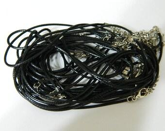 14 Faux Leather Necklace Cords - Black Necklace Chains & Cords - 14 Necklace Cords Total - Detash Emporium