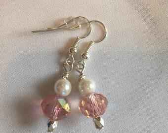 Elegant pink and pearl silver earrings