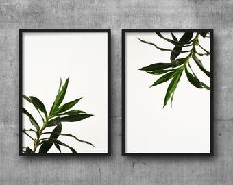 Leaf print - Minimalist art - White green wall art - Botanical prints - Loft art - Modern wall art - Downloadable prints, printable, A3 art