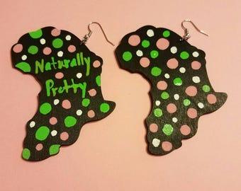 Africa Polk a Dot handpainted wooden earrings