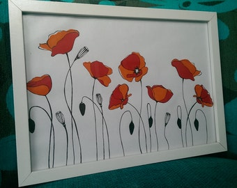 Flower art, poppy field.