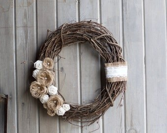 Burlap and lace rustic grapevine wreath