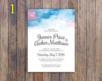 Watercolor Wedding Invitation ~ CUSTOMIZEABLE