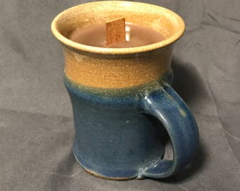 Coffee Scented Soy Candle in Pottery Mug