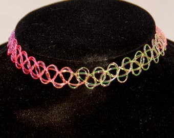 Tattoo Choker Necklace Rainbow