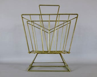 Mid Century Thick Metal Atomic Chevron Style Magazine Rack For Restore