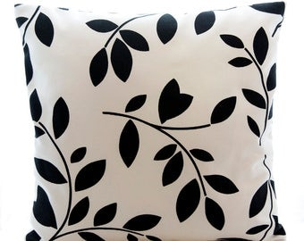 black and white floral cushion cover, black leaves botanical cotton cushion cover, decorative pillow cover,  16inch  14inch throw pillow