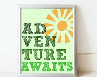 Adventure awaits art print in green//Nursery decor//baby shower gift//kids room art
