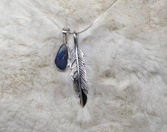 Sterling Silver Feather Necklace , Opal pendant, Feather pendant