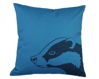 Blue, badger print cushion cover 40x40cm
