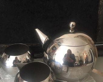 Stainless Steel Retro Tea set. Art Deco Style Teapot. Teapot. Milk jug. Sugar bowl. Stainless steel kitchenalia.