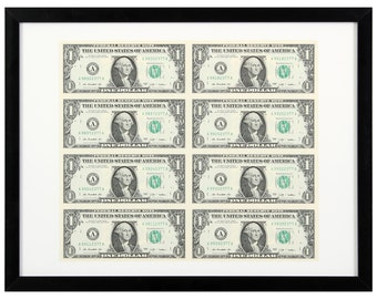 8X1 US dollar banknotes in frame
