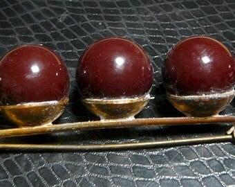 """1940's Lucite Balls Bar Pin Brooch C-clasp veneered brass 3 12"""" long"""