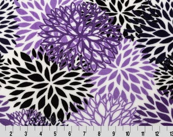 Shannon Minky Fabric, Jewel and Amethyst Blooms Minky, Purple Blooms Minky Fabric, Fabric by the Yard
