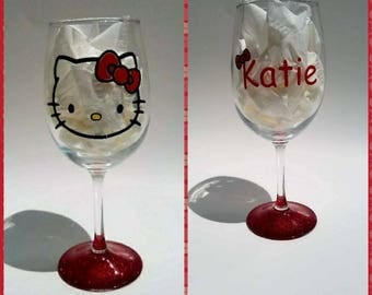 Personalized Hello Kitty Wine Glasses w/Glitter Bottom/Tumbler/Fruit Infuser