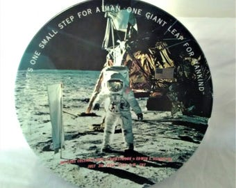 July 20, 1969 LANDING MOON SOUVENIR Plate- Texas Ware -One Small Step for Man