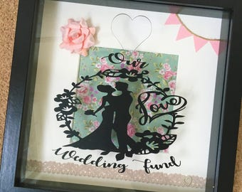 Our Wedding Fund Money Box Frame Memento, Engagement Gift, Saving for Honeymoon, Bride and Groom