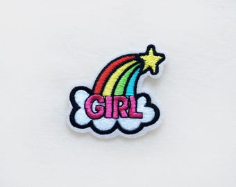 1x rainbow girl tag PATCH - star cloud message girly little poney message perfect for shirt bag backpack - Iron On Embroidered Applique
