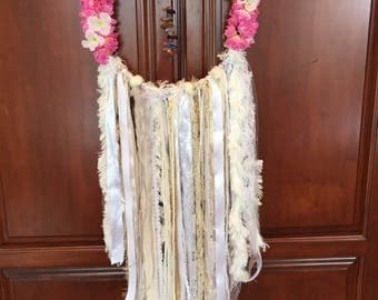 Handmade floral & crustal gem dream catcher