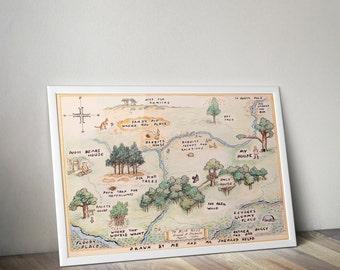 100 Aker Wood / Winnie the Pooh Map Print / Classic Winnie the Pooh Nursery / Winnie the Pooh Baby / Wall Art / Wall Decor