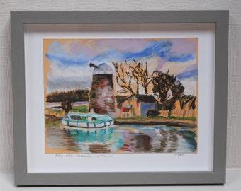 Original Pastel Oby Mill Norfolk Broads Upton
