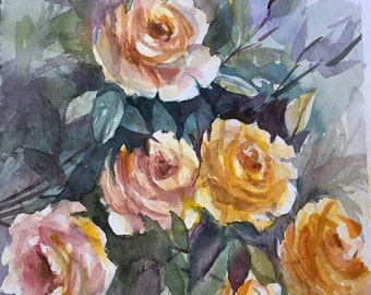 Original Watercolor Floral Painting, Abstract Roses