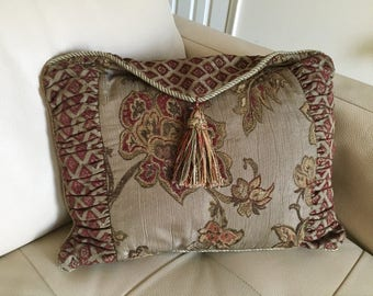 Vintage Tapestry Decorative Pillow Burgundy and Olive/Gray