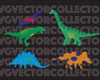Dinosaur Combo, SVG EPS DXF Png, Clip Art, Instant Digital Download