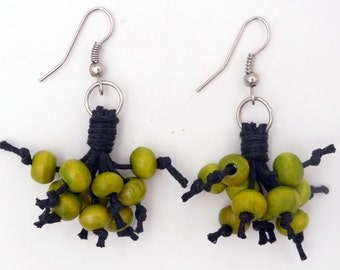 Bohemia in leather and painted wood earrings