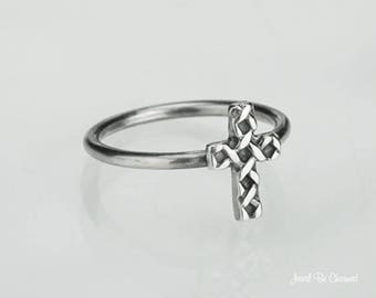 Sterling Silver Woven Cross Ring Solid 925 Christian Ring Custom Sizes