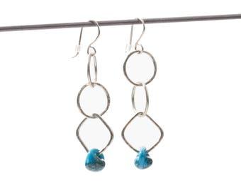 3-Tier-Dangle Earrings. Original Design, Argentium Fine Silver Hand Forged Earrings, Glass Bead