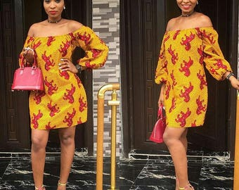 ankara off shoulder dress