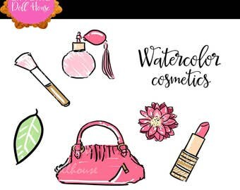 Cosmetics clipart, Makeup clipart, Watercolor clipart, Lipstick clipart, Bag clipart, purse clipart, makeup brush, perfume clipart, instant