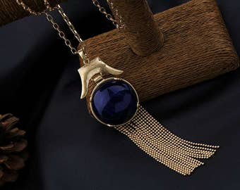 Retro Victorian Blue Stone Tassel Necklace