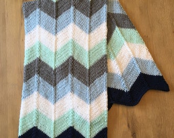 Blue chevron striped baby blanket
