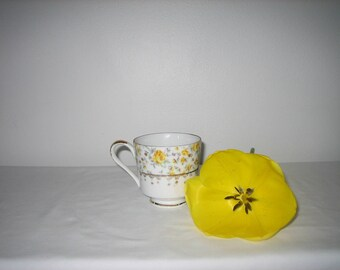 China Tea Cup Vintage Yellow Floral Gold Rim And Handle Tea Cup 10177 On Bottom In Gold