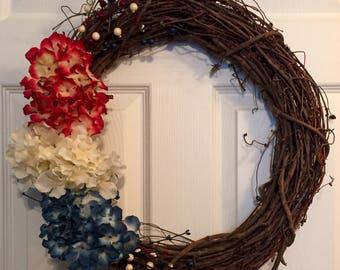 Red, White & Blue Hydrangea vine wreath