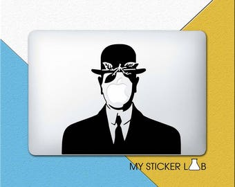The Son Of Man Painting MacBook Decal Magritte Painting Art MacBook Sticker Apple Decal Apple Logo Vinyl Sticker Shadow Silhouette m700