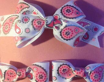 Pink Paisley Hair Clip Set