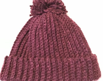 Ribbed hat with Pom Pom