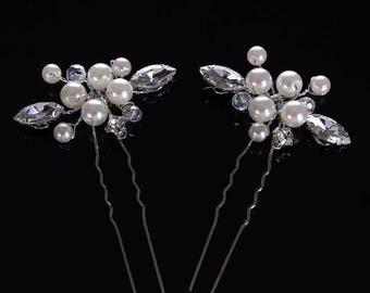 2pcs SET Beautiful Wedding Pearls and Crystals Bridal Hair Pins
