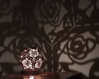 Laser Cut Rose Shadow Lamp Designed and made in Cambridge with Customised Message