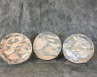 3 agateware plates