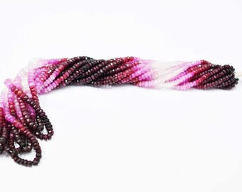 Natural Ruby Shaded Faceted Rondelle / 3.0-4.0 mm / 16 inch / Rondelles Finest Quality,Wholesale Price