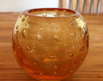 Vintage Whitefriars Tangerine Controlled Bubble 9377 Glass Vase