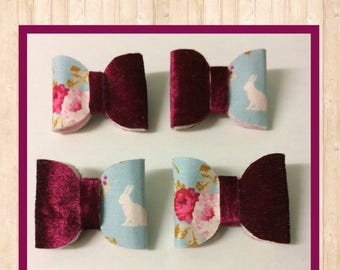 Red Velvet & Rose/Rabbit Design Hair Bow