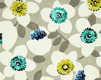 Cachet Large Floral Green on Gray by Michele D'Amore for Bernatex fabric