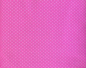 White on Hot Pink Small Polka Dot Fabric, 100% Cotton, Nursery Fabric, Fabric for Sewing and Quilting - FREE SHIPPING orders over 35USD!!