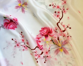 Garden in Spring Mulberry Silk Fabric, Saucer Magnolia Roses Cherry Blossom Floral Silk, Dresses Fabric - FREE SHIPPING orders over 35USD!!!