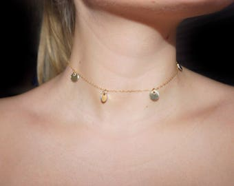 Gold Disk Charm Necklace • Gold Chain Necklace • Circle Pendent Necklace • Gold Chain Choker • Charm Choker